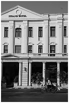 Rickshaw and Strand Hotel. Yangon, Myanmar ( black and white)