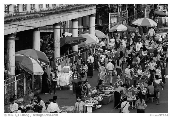 Street market. Yangon, Myanmar (black and white)