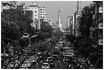Street with busy traffic leading to Sule Pagoda. Yangon, Myanmar ( black and white)