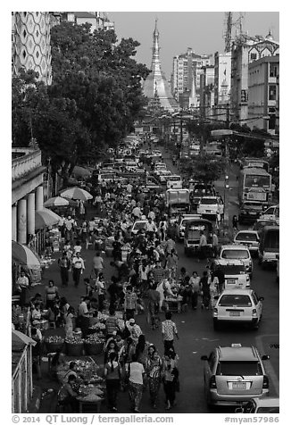 Open air market and Sule Pagoda. Yangon, Myanmar (black and white)