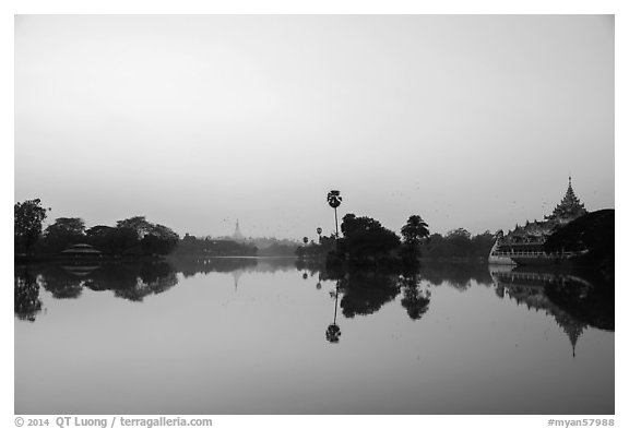 Royal Lake with Shwedagon Pagoda and Karawek barge. Yangon, Myanmar (black and white)