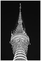 Hti of the Shwedagon Pagoda, adorned with thousands of gems and golden bells. Yangon, Myanmar ( black and white)