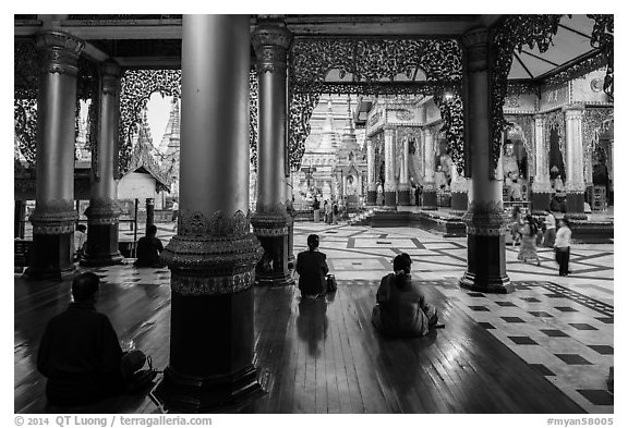 Platform seen from prayer hall, Shwedagon Pagoda. Yangon, Myanmar (black and white)