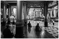 Platform seen from prayer hall, Shwedagon Pagoda. Yangon, Myanmar ( black and white)