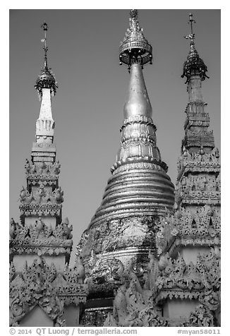 Detail of spires capped with unbrellas, Shwedagon Pagoda. Yangon, Myanmar (black and white)