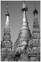 Detail of spires capped with unbrellas, Shwedagon Pagoda. Yangon, Myanmar ( black and white)