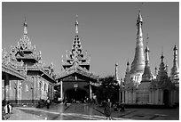 Northern stairway, pavillions, and stupas, Shwedagon Pagoda. Yangon, Myanmar ( black and white)