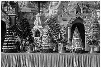 Elaborate offerings, Shwedagon Pagoda. Yangon, Myanmar ( black and white)