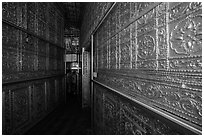 Mirrored maze-like walkway inside Botataung Pagoda. Yangon, Myanmar ( black and white)