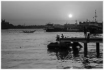 Botataung Pier at sunset, Yangon River. Yangon, Myanmar ( black and white)
