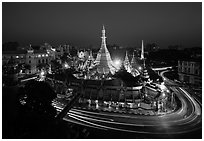 Traffic circle around Sule Pagoda at dusk. Yangon, Myanmar ( black and white)
