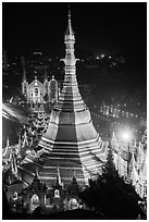 Sule Pagoda and Emmanuel Baptist Church at night. Yangon, Myanmar ( black and white)