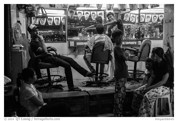 Barbershop at night. Yangon, Myanmar (black and white)