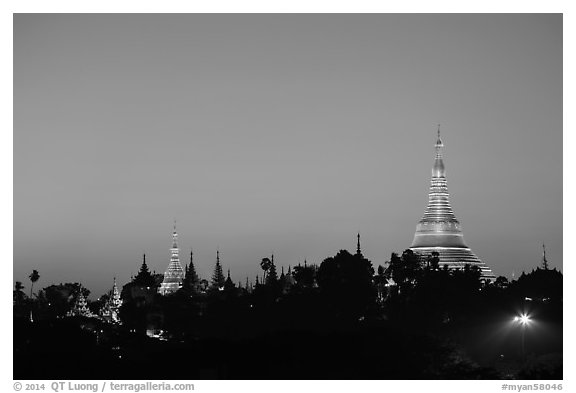 Singuttara Hill and Shwedagon Pagoda at dawn. Yangon, Myanmar (black and white)