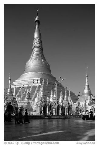 Main chedi and platform, Shwedagon Pagoda. Yangon, Myanmar (black and white)
