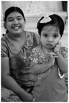 Girl and mother, Shwedagon Pagoda. Yangon, Myanmar ( black and white)