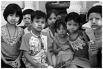 Children, Shwedagon Pagoda. Yangon, Myanmar ( black and white)