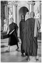 Monks on platform, Shwedagon Pagoda. Yangon, Myanmar ( black and white)