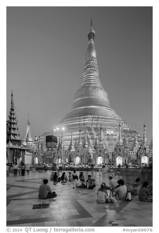 Praying from the Victory Ground, Shwedagon Pagoda, dusk. Yangon, Myanmar (black and white)