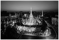 City Hall, Sule Pagoda, and Independence Monument at dawn. Yangon, Myanmar ( black and white)