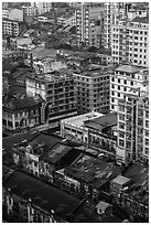 Downtown appartment buildings from above. Yangon, Myanmar ( black and white)