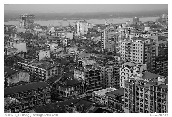 Indian quarter and Yangon River from above. Yangon, Myanmar (black and white)