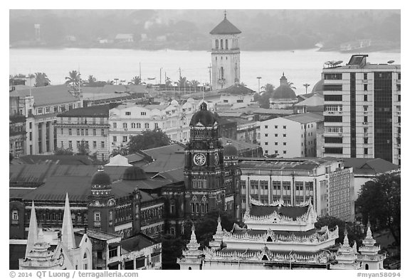 Colonial buildings and Yangon River from above. Yangon, Myanmar (black and white)