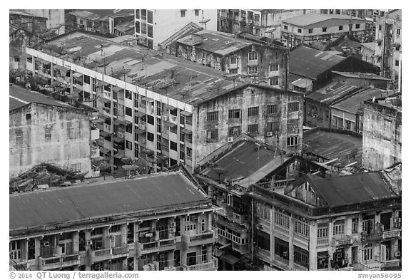 Old appartment buildings from above. Yangon, Myanmar (black and white)