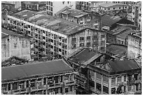 Old appartment buildings from above. Yangon, Myanmar ( black and white)