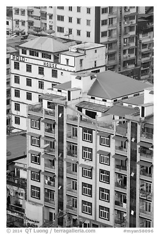 New appartment buildings from above. Yangon, Myanmar (black and white)