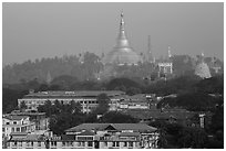 Singuttara Hill topped by Shwedagon Pagoda. Yangon, Myanmar ( black and white)