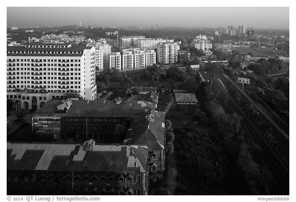 Old railway station and new appartment buildings from above. Yangon, Myanmar (black and white)