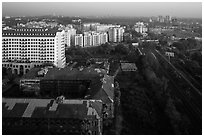 Old railway station and new appartment buildings from above. Yangon, Myanmar ( black and white)