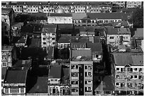 Residential buildings from above. Yangon, Myanmar ( black and white)