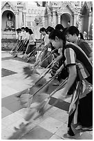 Floor sweepers, Shwedagon Pagoda. Yangon, Myanmar ( black and white)