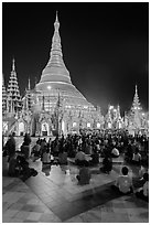 Golden dome seen from the Victory Ground at night, Shwedagon Pagoda. Yangon, Myanmar ( black and white)