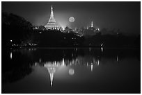 Moonset over Shwedagon Pagoda and Kandawgyi Lake. Yangon, Myanmar ( black and white)