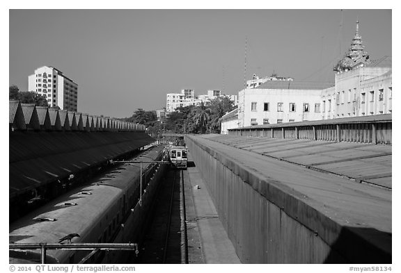 Central train station tracks. Yangon, Myanmar (black and white)