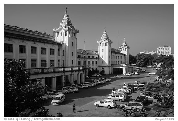 Central train station. Yangon, Myanmar (black and white)