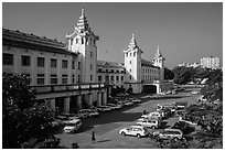 Central train station. Yangon, Myanmar ( black and white)