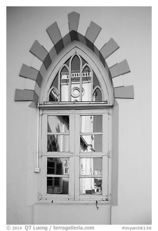Church tower reflected in window. Yangon, Myanmar (black and white)
