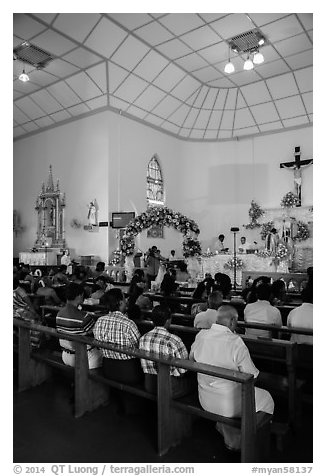 Inside church with wedding in progress. Yangon, Myanmar (black and white)