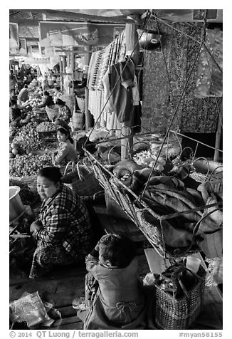 Infant sleeping in cradle in Nyaung U market. Bagan, Myanmar (black and white)