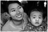Woman and infant. Bagan, Myanmar ( black and white)