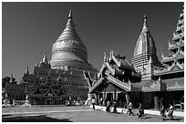 Shwezigon Pagoda. Bagan, Myanmar ( black and white)