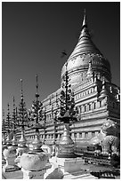 Umbrellas and main stupa, Shwezigon Pagoda. Bagan, Myanmar ( black and white)