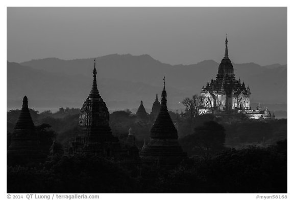 Temples seen from Shwesandaw at dusk. Bagan, Myanmar (black and white)