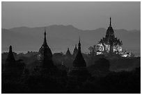 Temples seen from Shwesandaw at dusk. Bagan, Myanmar ( black and white)