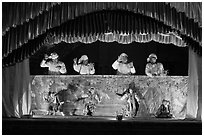 Burmese string puppet show. Bagan, Myanmar ( black and white)