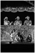 Puppeteers. Bagan, Myanmar ( black and white)